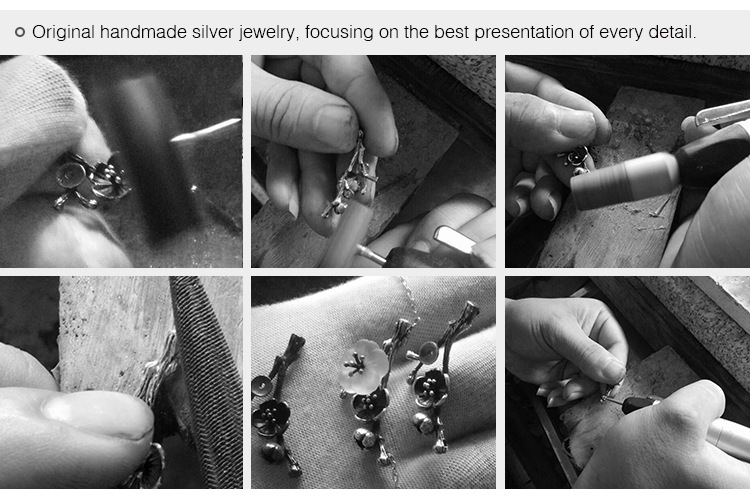Silver Cherry Blossom Bracelet With Zircon Sakura Bangle Women 925 Sterling Jewelry 11