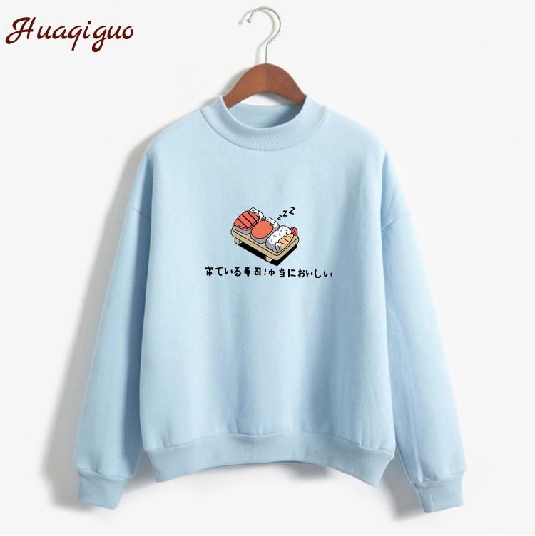 Frauen Hoodies 2017 Herbst Winter Sweatshirts Cartoon Kawaii Sushi Japanischen Druck Fleece Lose Moletom Feminino Harajuku Pullover