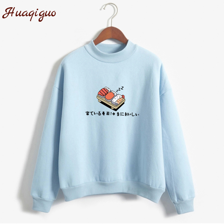 Women Hoodies 2019 Autumn Winter Sweatshirts Cartoon Kawaii Sushi Japanese Print Fleece Loose Moletom Feminino Harajuku Pullover