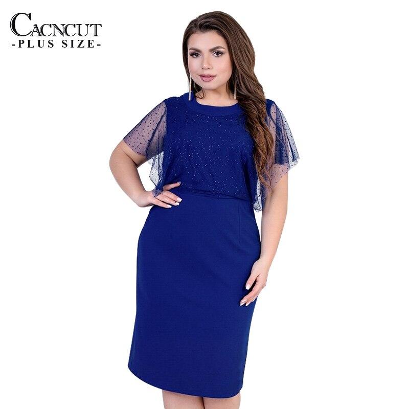 CACNCUT 6XL Plus Size Women Dress 2019 Summer Casual Mesh Ladies Office Elegant Large Big 5XL Party Vestidos Clothing