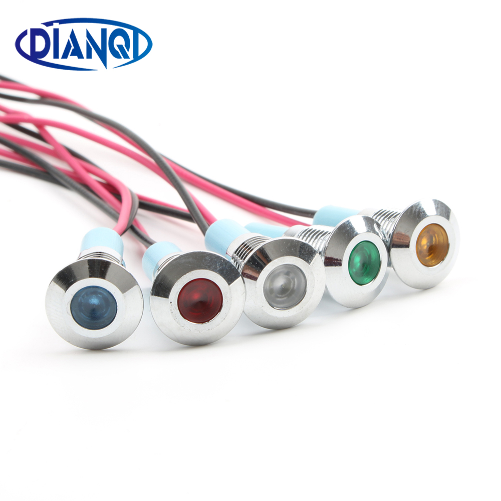 LED Metal Indicator Light 8mm Waterproof Signal Lamp Dot LIGHT With Wire Red Yellow Blue Green White 8ZSD.X