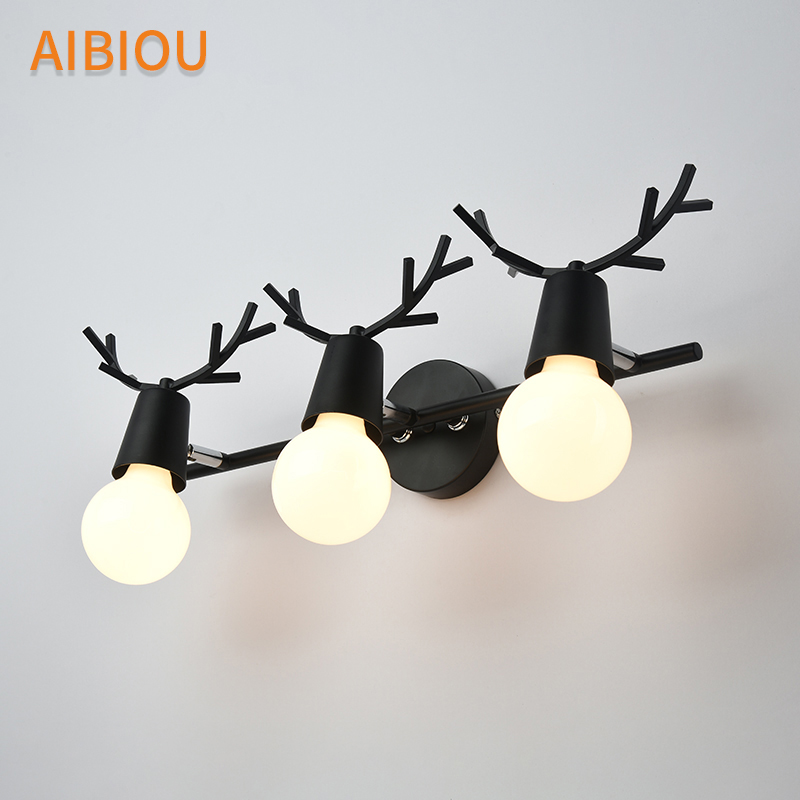 AIBIOU Creative LED Wall Lights For Living Room Wooden White Wall Sconce Black Hotel E27 Bedside Light Kids Room Lighting in LED Indoor Wall Lamps from Lights Lighting