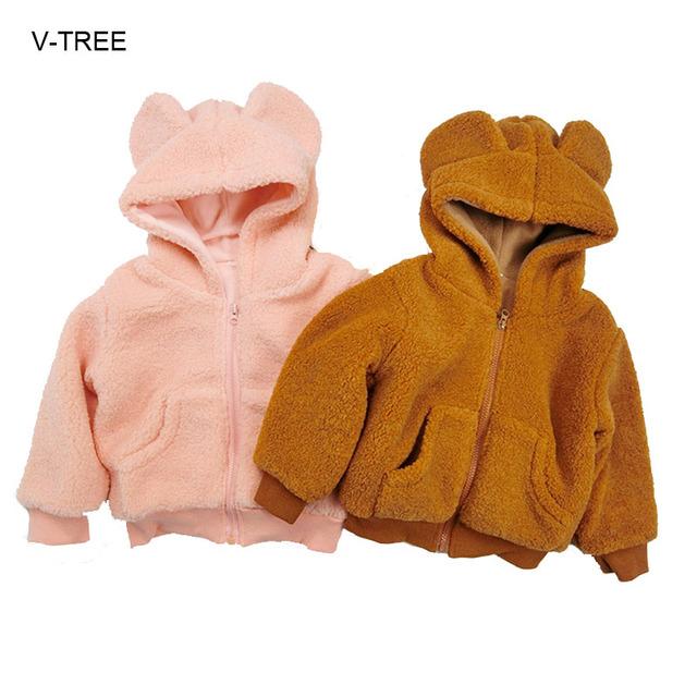 Inverno roupas de bebê Para Crianças cordeiro jacketins cabeça Do urso Do Bebê de lã mais grossa jaqueta de algodão para meninos das meninas do bebê casaco de Inverno