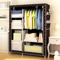 Modern Non Woven Cloth Wardrobe Folding Clothing Storage Cabinet Multi Purpose Dustproof Moistureproof Closet Bedroom Furniture