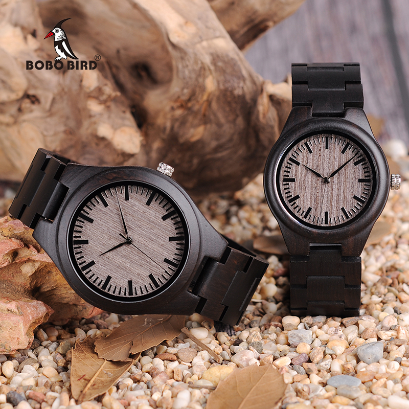 Women Watches Men Relogio Masculino BOBO BIRD Lover Ebony Wood Quartz Ladies Wristwatch Montre Femme Erkek Kol Saati In Gift Box