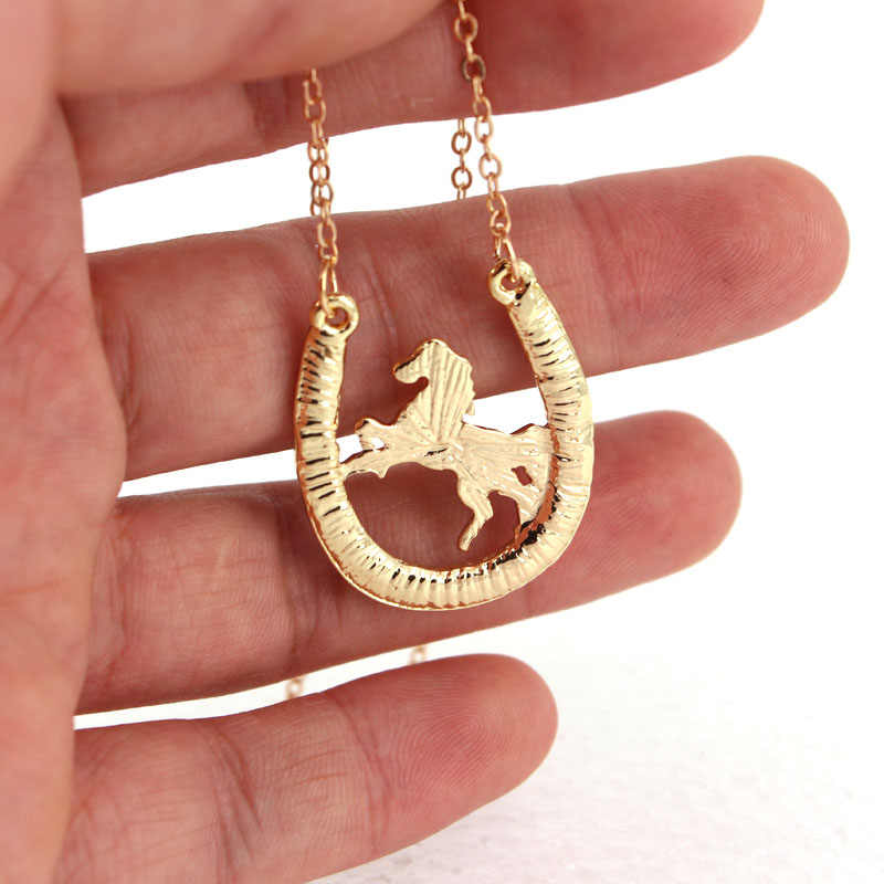 hzew new running horse and Horseshoe pendant necklace
