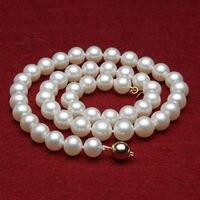 Горячая # Оптовая Продажа> Мода AAA + 9 10 мм белый пресной воды ожерелье жемчуг 18