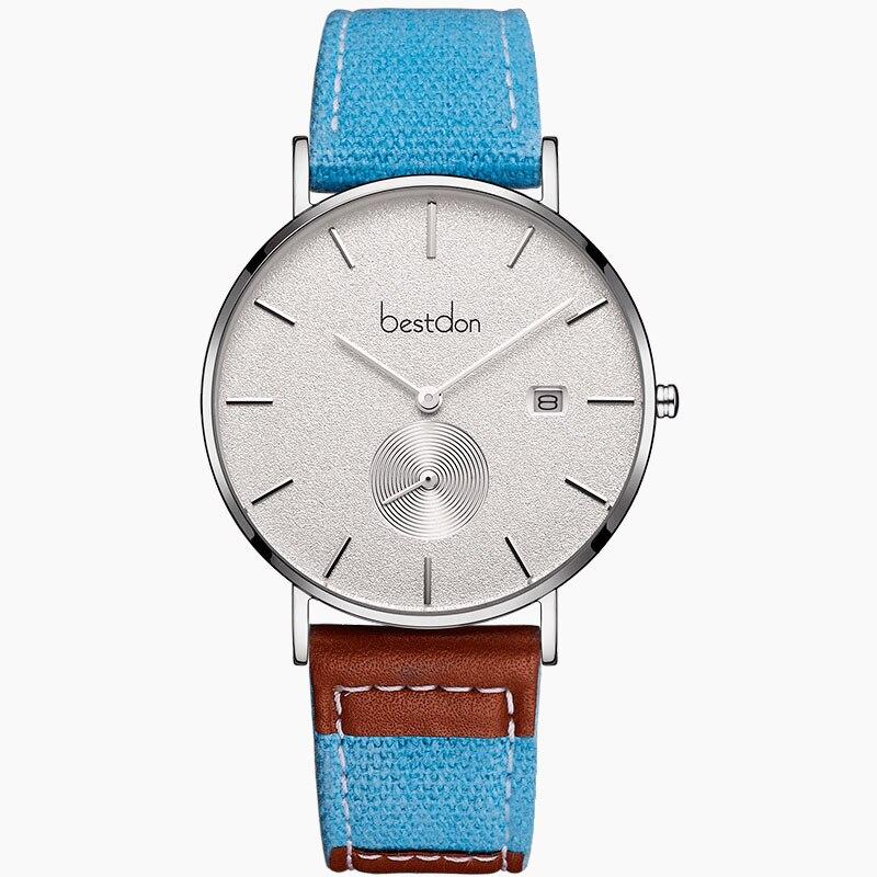 Bestdon Horloge Mannen Canvas Denim Ultra Dunne Geïmporteerde Quartz Klokken Retro Sport Horloges Top Brand Fashion Waterdichte Man Hot - 6