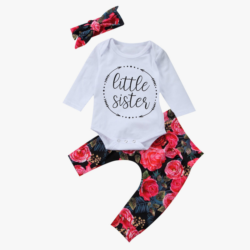 Cute Newborn Baby Girl Clothes Long Sleeve Little Sister Romper Tops+Floral Pant Legging Headband 3PCS Outfit Kids Clothing Set girls tops cute pants outfit clothes newborn kids baby girl clothing sets summer off shoulder striped short sleeve 1 6t