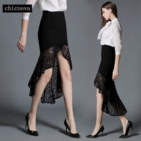 short front long back women lace skirt ruffles mermaid hip skirt Swallowtail one step skirt FS0194