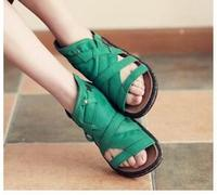 2017 Newest Fashion Hot Selling Summer Women Green Leather Hand Made Sandals Flat Causal Ladies Beach