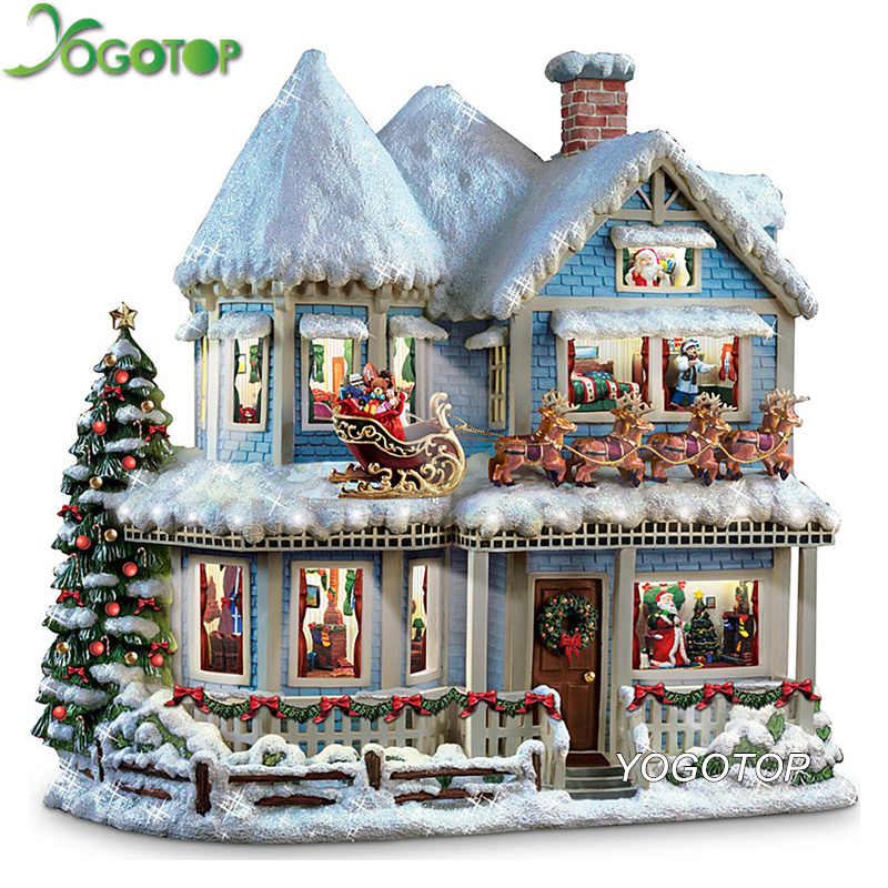 YOGOTOP Diy Diamond Painting Cross Stitch Kits 5D Diamond Mosaic Decorative Full Diamond Embroidery Christmas snow house ZB966
