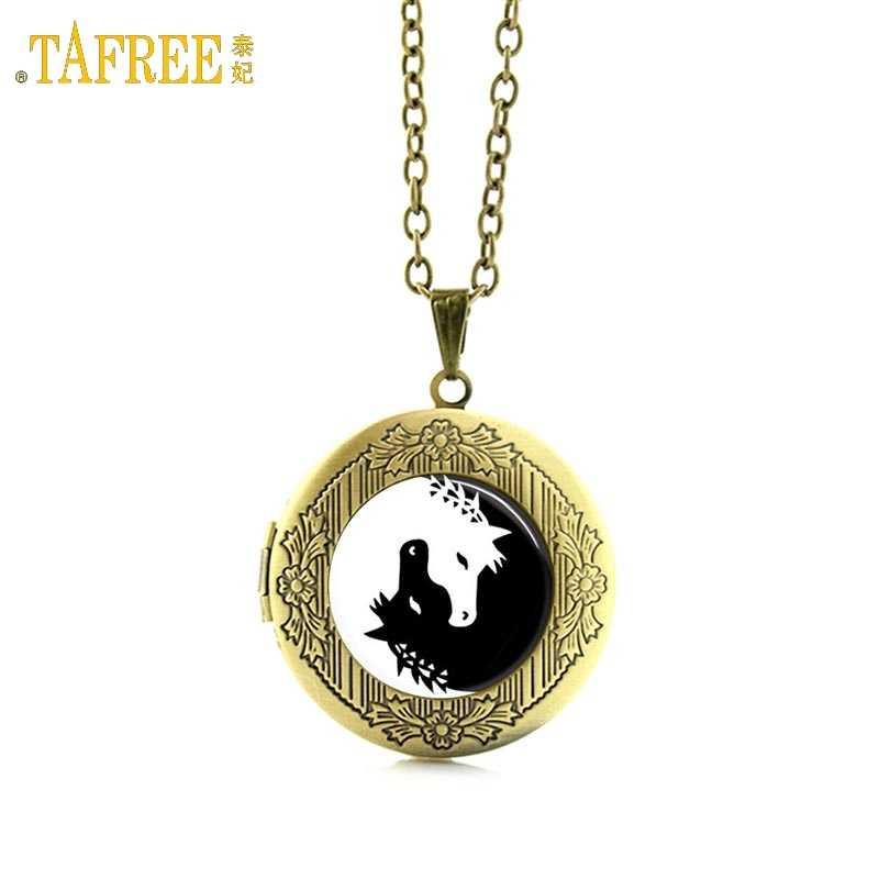 Tafree Âm Dương Ngựa Cổ Trắng Đen Kính Cabochon Kỳ Lân Nghệ Thuật Hình Ảnh Động Vật Mề Đay Mặt Dây Chuyền Vòng Cổ Trang Sức N432