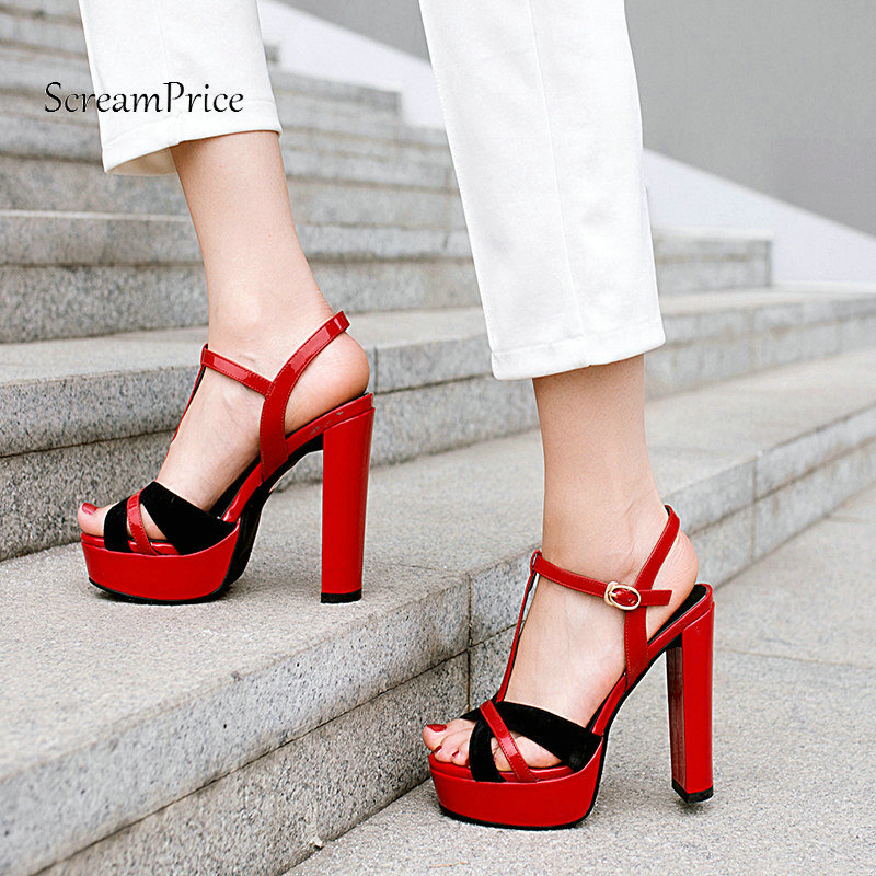 Summer Platform Square High Heel Woman Genuine Leather Sandals Fashion Buckle Dress Shoes Woman Black Red 2017 summer genuine leather botas mujer thigh high gladiator summer boots black color square heel big buckle strap shoes woman