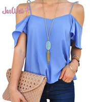 JasWell 2017 Summer Women S Harness Off Shoulder Blouses Sexy Lady Loose Shirt Chiffon Blouse Elegant