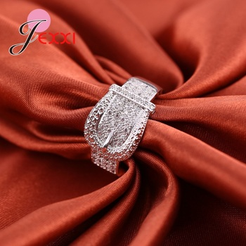 Latest 925 Sterling Silver Rings AAA Cubic Zircon CZ Stone Belt Buckle Design Lovely Women's Big Party Accessories 1