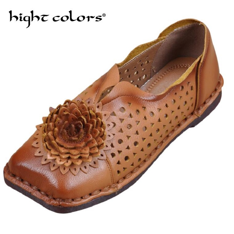 Summer Shoe Woman Flat Genuine Leather Women Brand Casual Shoes Loafers Fashion Flower Flats Moccasins Ladies Shoe 34 43 big small size new 2016 summer fashion casual shoes moccasins bottom shoe platform flat for women s loafers ladies