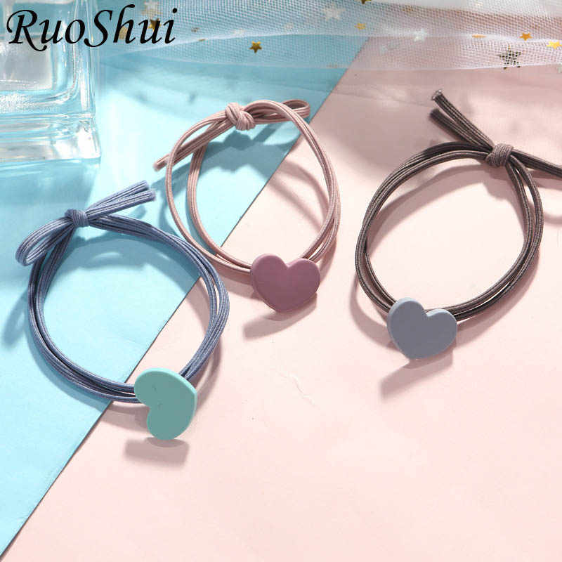 Fashion Korean Girl Elastic Hair Bands Solid Heart Rubber Hair Ties for Women Girls Ponytail Holder Hair Ropes Hair Accessories