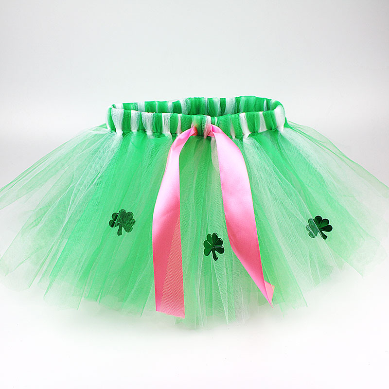 0 8Y Baby Girl Clothes Solid Green Four Leaf Clover Tulle Tutu Skirt Holiday Party Kids Clothing Costume 4 layer Yarn Pettiskirt in Skirts from Mother Kids
