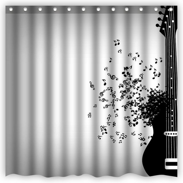 Shower Curtain Fantasy Art Flying Musical Notes Black Guitar Waterproof Polyester Bathroom Decorative Curtains