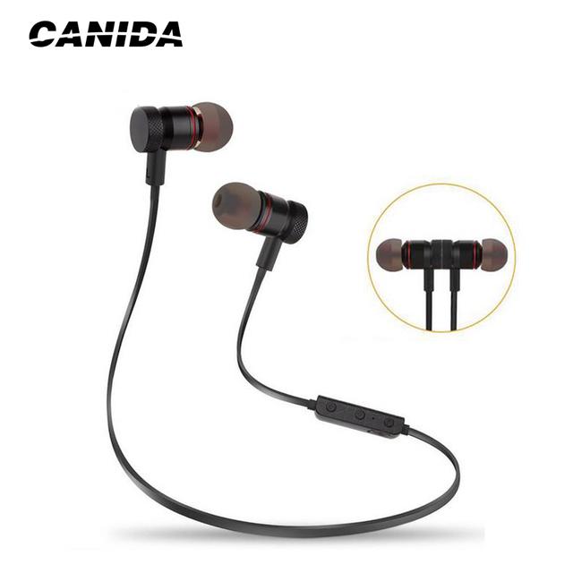 CANIDA Ímã Sem Fio Bluetooth Fone De Ouvido Esporte fone de Ouvido Bluetooth Estéreo Baixo Fones de Ouvido de Redução de Ruído com Microfone para telefone