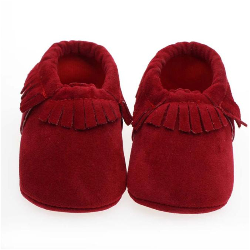 Baby Boy Girl Baby red Moccasins Soft Shoes Fringe Soft Soled Non-slip Footwear Crib Shoes Newborn First Walkers Shoes 17Dec29