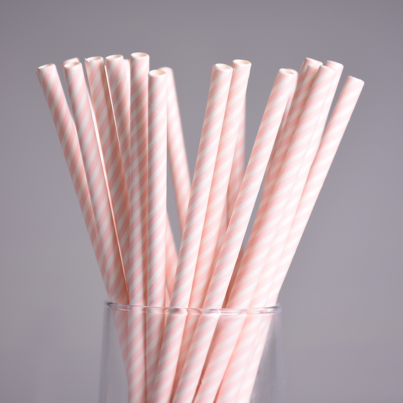 25 pcslot rose cologique rayures papier pailles fte de nol de mariage dcoration biodgradables - Bon De Reduction Decoration De Mariage