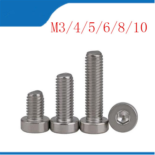 M10 bolt Cavallotto inox 304 stainless steel Bolts thin head Hex socket screw M3 M4 M5 M6 M8 M10 Screw short head six angle bolt