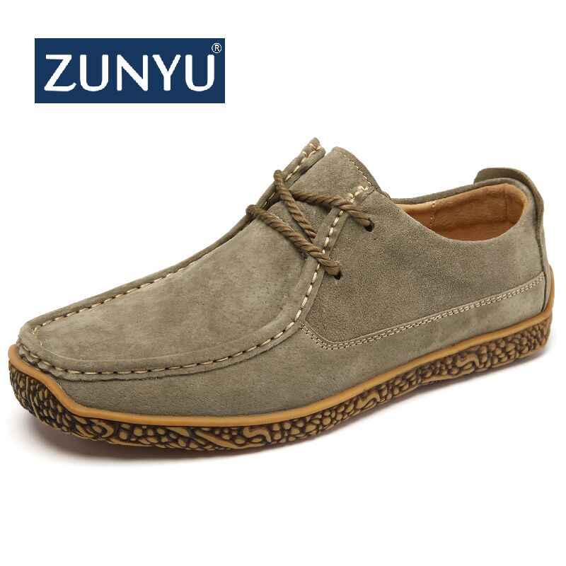 ZUNYU Autumn New Casual Shoes Mens Leather Flats Lace-Up Shoes Simple Stylish Male Shoes Large Sizes Oxford Shoes For Men