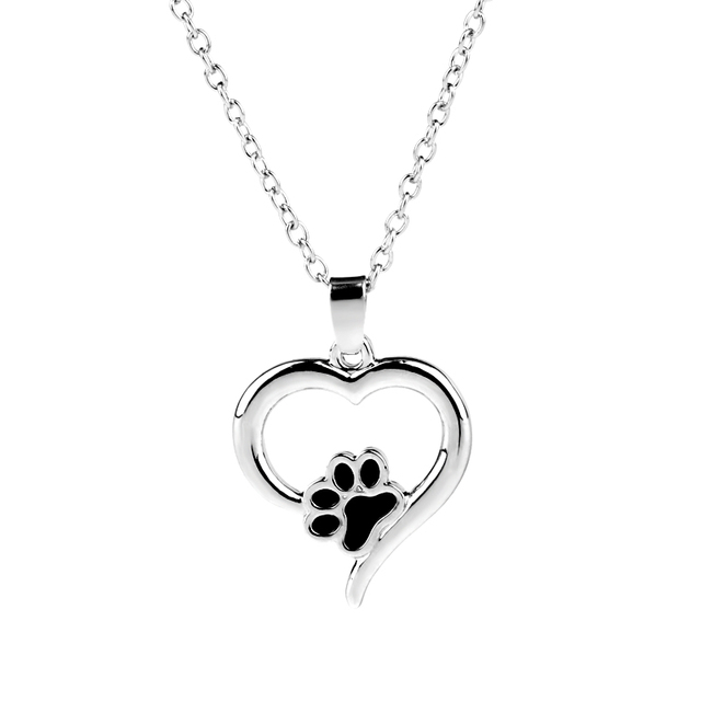 Hollow Pet Paw Prints Necklaces Cute Animal Dog Memorial jewelry Pet Lover Puppy Paw Heart Charm Black Enamel Necklace Girls