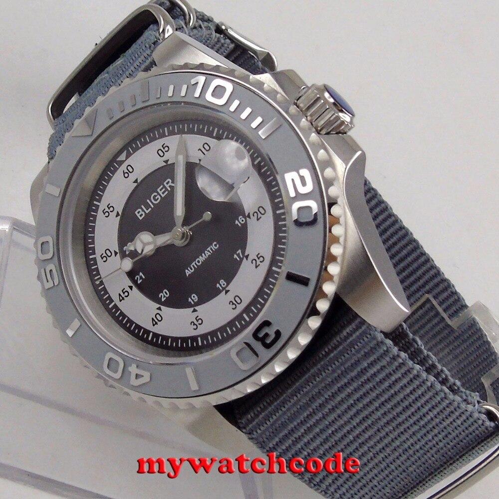 лучшая цена 40mm bliger gray dial mens watch silver caremic bezel sapphire automatic wristwatch