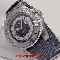 40mm bliger gray dial mens watch silver caremic bezel sapphire automatic wristwatch