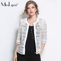 MissLymi L 5XL Plus Size Women Lace Cardigan 2017 Summer Fashion Sexy Lace Crochet Hollow Out