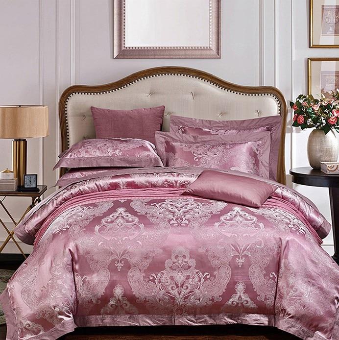 Luxury Dark Purple Bedding sets Satin duvet cover Jacquard ...