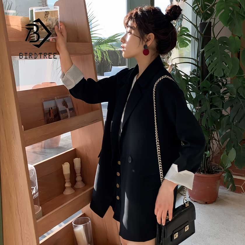 2019 Women's Chic Spring Top Blazer Jacket Double Breasted Pockets England Style Female Lady Loose Thin Coat Hot Sales C96120Z