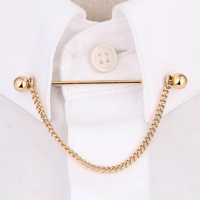 OBN Brand Gold/Silver Chain Ball Head MensTie Collar Pin Brooch Tie Stick Lapen Pin Shirt With Collar Bars Jewelry