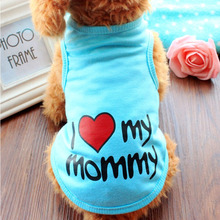 Summer Dog Clothes Pet T shirt Puppy Soft Cotton Costume Vest Teddy Love Daddy Mommy Chihuahua Outfit For Dog Clothes S-XXL