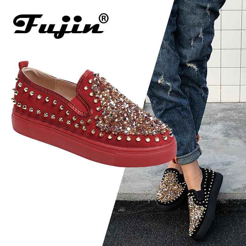 Fujin Women Shoes Rivet Autumn New European And Thick American Couple Floor Big-Code