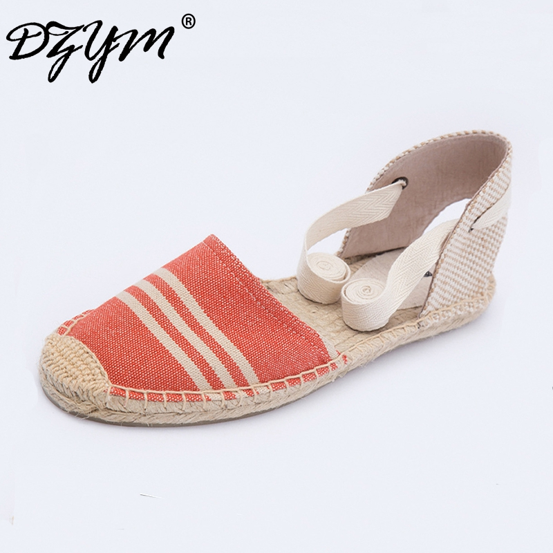 DZYM 2017 Classic Canvas Espadrille Lino Women Flats Hemp Fashion Cross-tied Linen Loafers Stripe Fisherman Shoes Zapatos Mujer цены онлайн