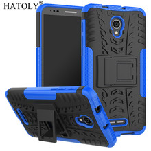 HATOLY For Alcatel One Touch Pop 4 Plus Case Alcatel Pop4 Plus 5.5 inch Armor Silicone Hard Plastic Case with Holder Stand alcatel pop 4 plus 5056d blue