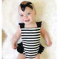 2017 fashion New Born Baby Rompers Girls Summer black stripe lace Rompers Toddler Infant Suits Sets One-piece Clothes