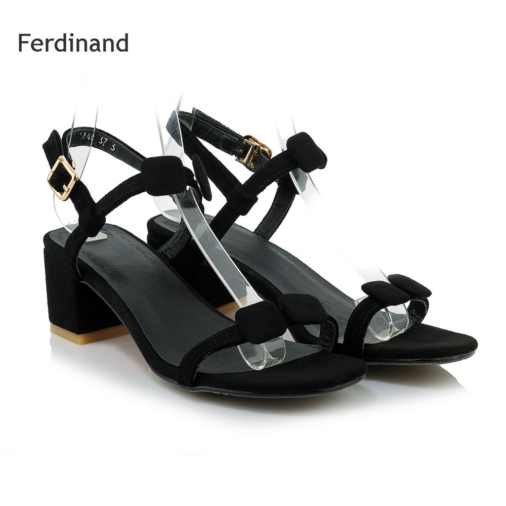 Fashion Women sandals Genuine leather Buckle strap Peep toe Square heel Summer Causal high heel shoes Black White Solid color women genuine leather sandals fashion pointed toe causal shoes buckle solid color black pink orange spring shoes square heel