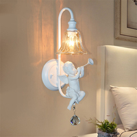Nordic Creative Led Wall Lamp,Novelty Angel with Violin/Trumpet Children Bedroom Wall Light Mirror Lamp Bedside Sconce Deco