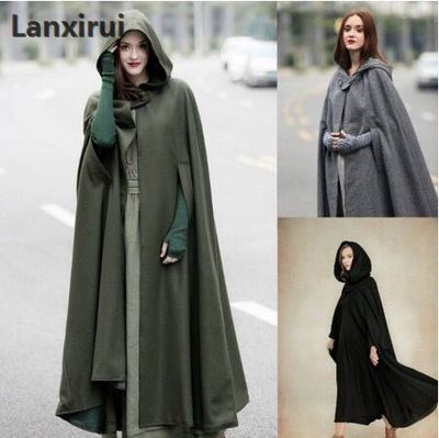 Adult Witch Long Gary Green Black Halloween Cloaks Oversize Hood   Trench   And Capes Halloween Costumes For Women Coat
