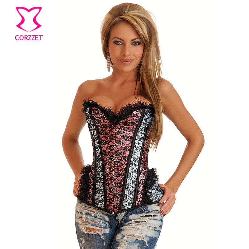 Pink/Gray Contrast Color Sexy Lace   Bustier     Corset   Steel Bone Overbust Corpetes E Espartilhos Gothic Clothing Korsett For Women