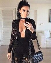 Fashion Women Black Lace Dresses Club Sexy See Through Bodycon Vestidos Celebrity Style O neck Party Clubwear Night Club Dress