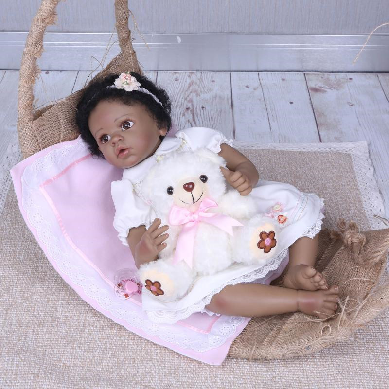 NPK 22Inch Dolls 55cm Soft Silicone black Baby realistic Reborn Dolls With Cotton Body Lifelike Doll Reborn Babies Toys for sale ucanaan reborn baby dolls realistic soft cloth body handmade lifelike reborn babies doll toys baby sleeping partners 50 55cm