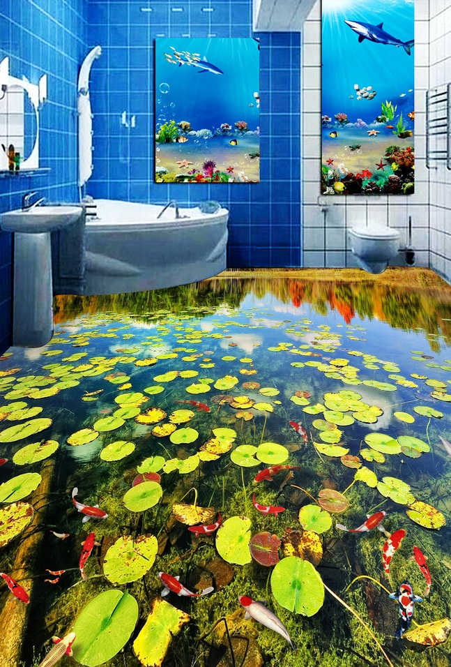 цена 3 d pvc flooring custom wall wticker 3d bathroom flooring 3d The pond duckweed carp painting photo wallpaper for walls 3d