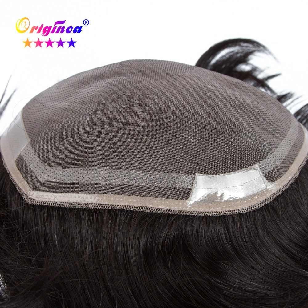 Originea Remy человеческие волосы парик для мужчин базовый размер от передней до задней 18 см справа налево 16 см длина волос 6 дюймов 1 # цвет