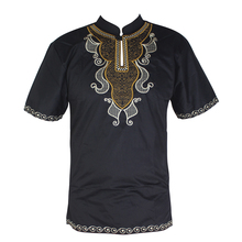 Men`s Dashiki Tops Africa Clothes Henley Collar Bazin Embroidery African Dress Shirt for Male Summer Wearing